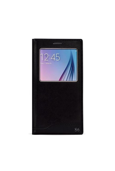Fitcase Dolce S6 G920 Gizli Mıknatıslı Pencereli Kılıf Siyah
