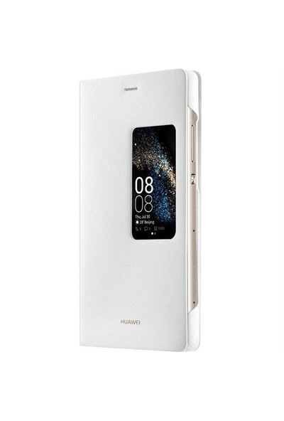 Huawei P8 Pencereli Siyah Deri Kılıf