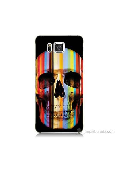Teknomeg Samsung Galaxy Alpha Kapak Kılıf Renkli Kurukafa Baskılı Silikon