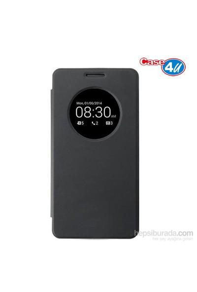 Case 4U Asus Zenfone 6 Flip Cover Siyah (Uyku Modlu) - Kapaklı Kılıf*