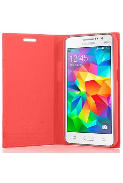 CoverZone Samsung Galaxy Core Prime Kılıf Safir Deri Kırmızı