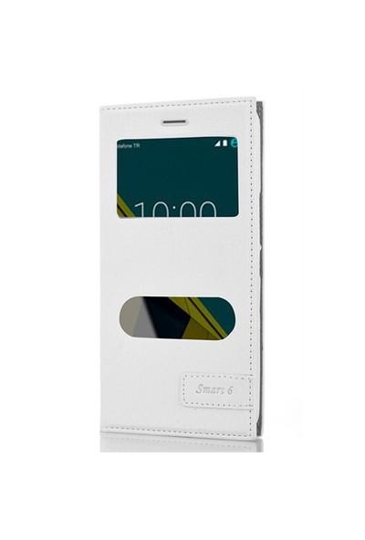 CoverZone Vodafone Smart 6 Kılıf Çift Pencereli Kapaklı Beyaz