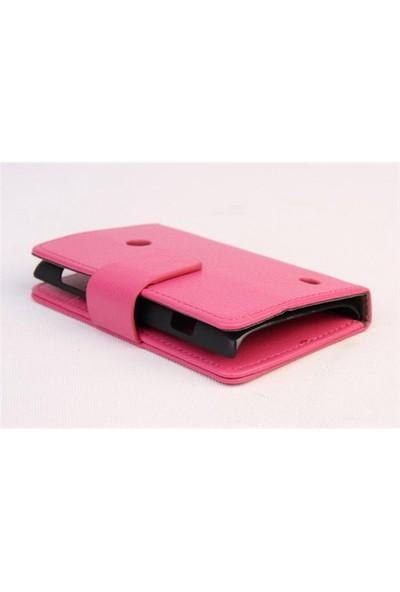 Microsonic Cüzdanlı Standlı Deri Kılıf - Nokia Lumia 520 Pembe