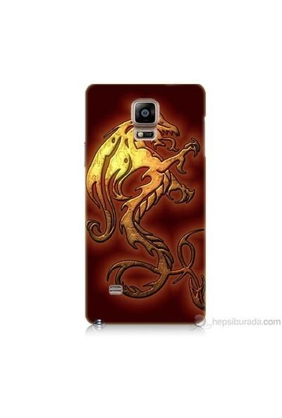 Teknomeg Samsung Galaxy Note 4 Kapak Kılıf Dragon Baskılı Silikon