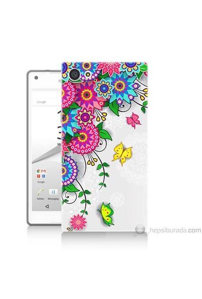 Teknomeg Sony Xperia Z5 Kapak Kılıf Çiçek Ve Kelebek Baskılı Silikon
