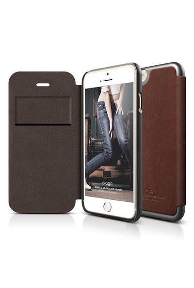 Elago Apple iPhone 6 S6 Leather Flip Series Deri Kılıf - Koyu Gri (Ekran Koruyucu Hediye)