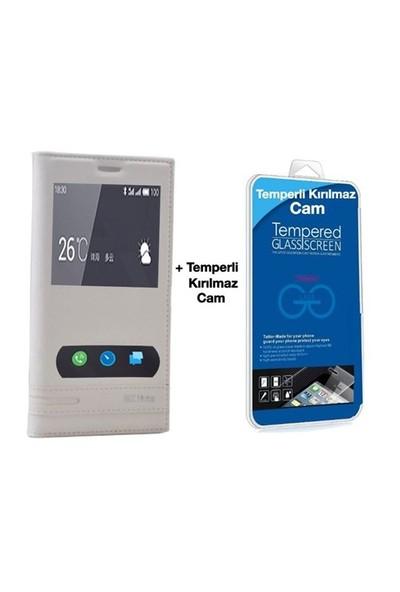 Teleplus Meizu M2 Note Mıknatıslı Çift Pencereli Kılıf Beyaz + Temperli Ekran
