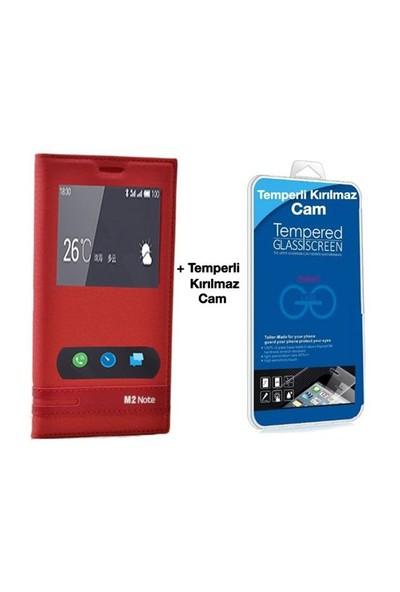 Teleplus Meizu M2 Note Mıknatıslı Çift Pencereli Kılıf Kırmızı + Temperli Ekran