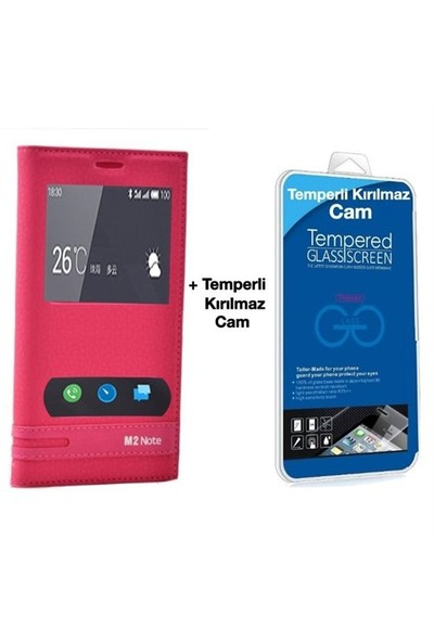 Teleplus Meizu M2 Note Mıknatıslı Çift Pencereli Kılıf Pembe + Temperli Ekran