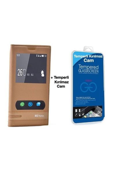 Teleplus Meizu M2 Note Mıknatıslı Çift Pencereli Kılıf Sarı + Temperli Ekran
