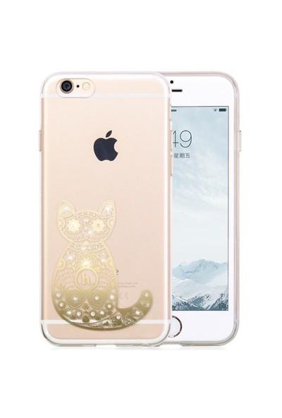 Hoco Apple İphone 6/6S Star Kristal Taşlı Silikon Kılıf Cat