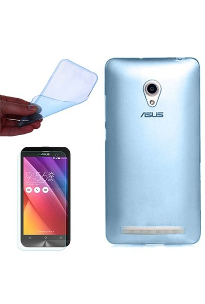 Gpack Asus Zenfone 6 Kılıf 0.2Mm Mavi Silikon + Cam