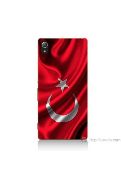 Teknomeg Sony Xperia Z4 Kapak Kılıf Türkiye Bayrağı Baskılı Silikon