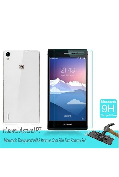 Microsonic Huawei Ascend P7 Transparent Kılıf & Film Tam Koruma Set