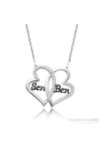 Olivin Accesories Gümüş Rodyum Sen Ben İki Kalp Kolye 432859