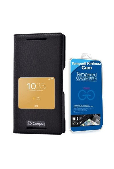 Teleplus Sony Xperia Z5 Compact Mini Pencereli Kılıf Siyah + Temperli Cam Ekran Koruyucu
