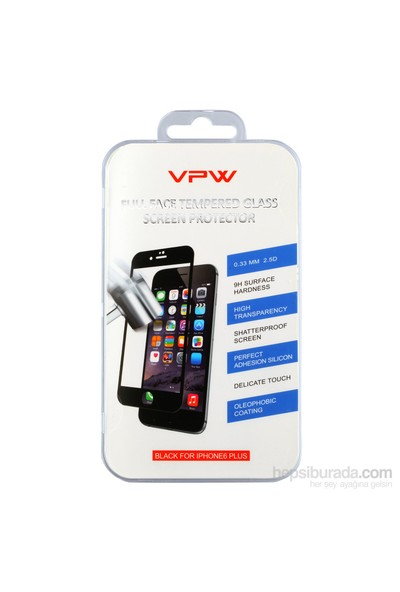 VPW iPhone 6 Plus Fullfıt Siyah Tempered Glass Ekran Koruyucu