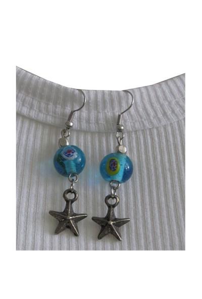 Pafuli Mavi Boncuklu Yıldızlı Küpe