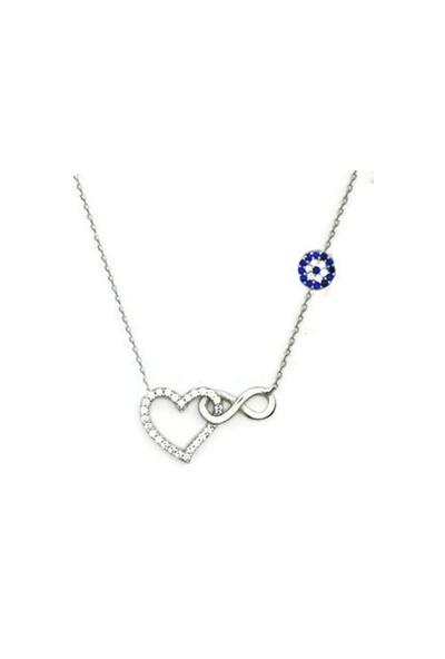 Beyazıt Takı 925 Ayar Gümüş Nazar Boncuklu Kalpli Sonsuzluk Kolyesi