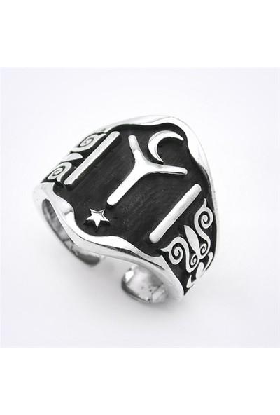 Mina Silver Kayı Logosu Başparmak Taşsız Gümüş Erkek Yüzük