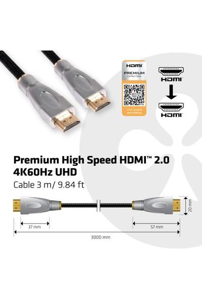Club 3D HDMI to HDMI 2.0 3m Altın Kaplama Çıkışlar/Örgülü Kablo/4K UHD Kablo (CAC-1310)