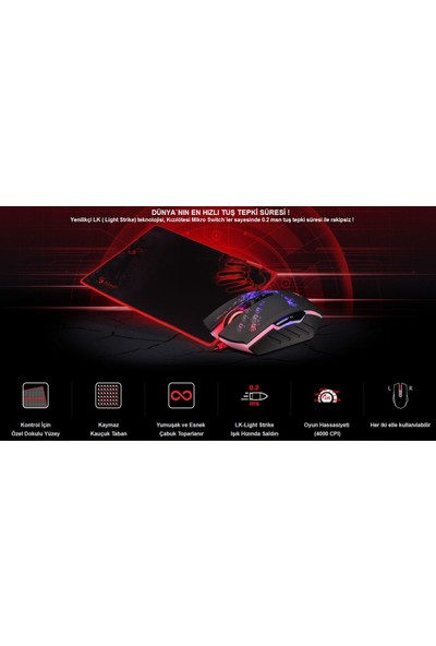 Bloody A6081 Siyah 4000CPI Oyuncu Mouse + Mouse Pad