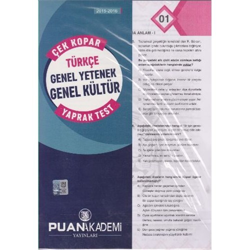 Puan Kpss 2015-2016 Türkçe Genel Yetenek Genel Kültür Çek Kopar Yaprak Test