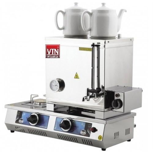 Vtn Çift Demlik Doğalgaz + Elektrikli Çay Kazanı