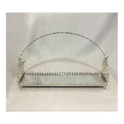 Jardinyer Kulplu Lazerli Kurabiyelik Gümüş 12x46