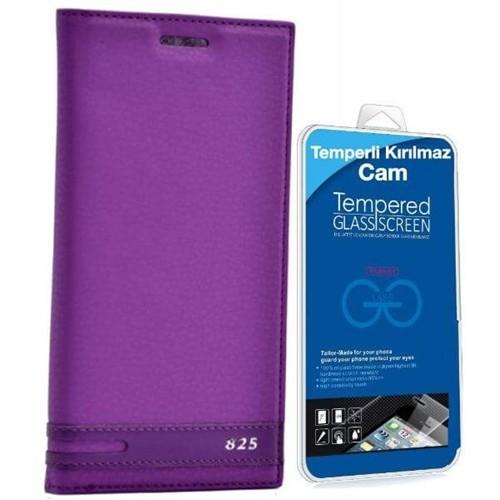 Teleplus Htc Desire 825 Mıknatıslı Kapaklı Kılıf Mor + Cam Ekran Koruyucu