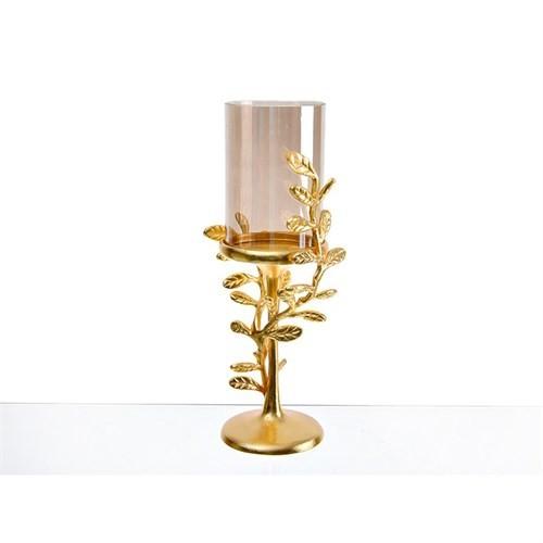 Lucky Art Gold Amber Yapraklı Orta Şamdan - Cd 011