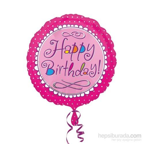 KullanAtMarket Pembe Happy Birthday Folyo Balon 43 Cm 1 Adet