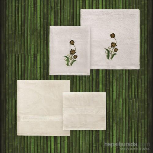 Taç Casabel Bambu Havlu Seti Grace Ekru&Ekru
