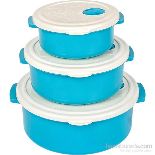 Bager 3'Lü Plastik (Tencere) Saklama Kabı Seti - Mavi