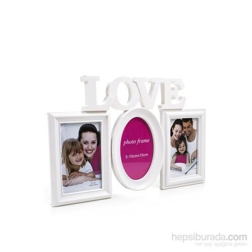 Love 3Lü Oval Plastik Fotoğraf Çerçevesi
