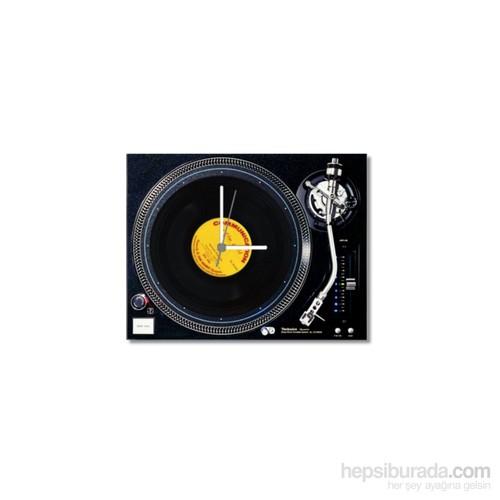 Tictac Gerçek 45'Lik Plaklı Pikap Görünümlü Kanvas Saat - Siyah1