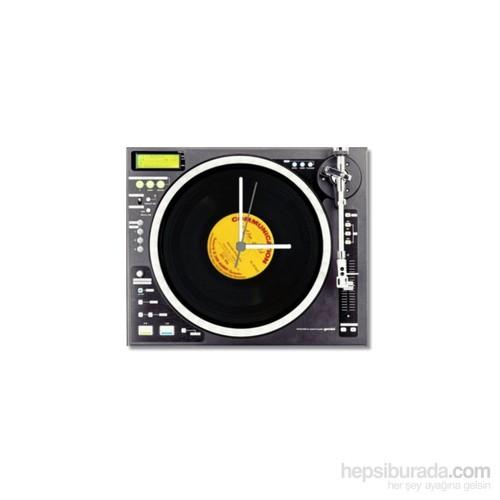 Tictac Gerçek 45'Lik Plaklı Pikap Görünümlü Kanvas Saat - Metalik2