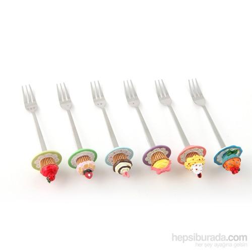 """Polirezen Saplı Tatlı Çatalı, """"Rengarenk Cupcakeler"""" 6'lı Set"""