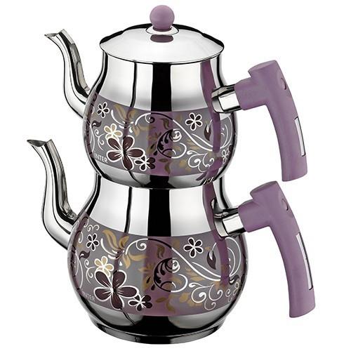 İnter Çelik Çiçek Dekorlu Çaydanlık Mini