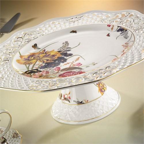 Kütahya Porselen 21102 Desen Ayaklı Kek & Pasta Tabağı