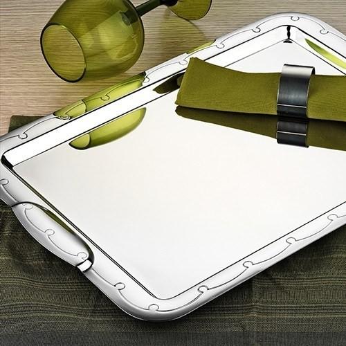 İnter Çelik Çay Tepsi - Üzüm Model Paslanmaz Çelik Çay Tepsisi