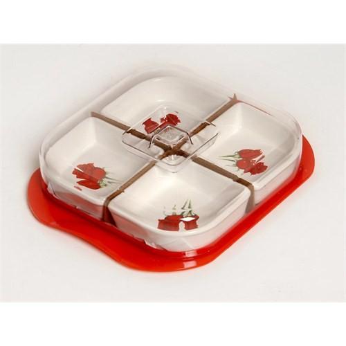 Atadan 4 lü Seramik Kahvaltı Seti-Kırmızı Desenli-CK073