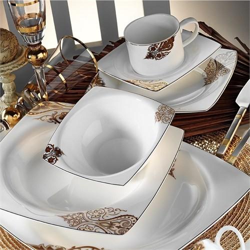 Kütahya Porselen Fileli Kare Bone 12 Kişilik 83 Parça 60108 Desenli Yemek Takımı