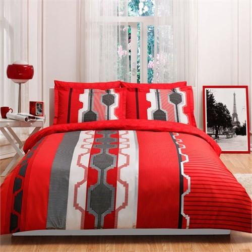 Taç Percale Çift Kişilik Nevresim Takımı - Belva Kırmızı