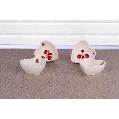 LoveQ Gül Serisi Kalp Porselen 4'Lü Çerezlik