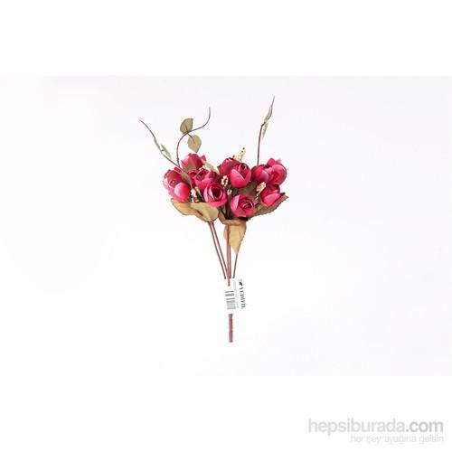 Yedifil Tomurcuk Gül Yapay Çiçek - Fuşya