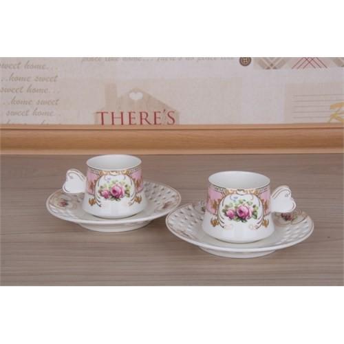 LoveQ Gül Serisi Porselen Çift Kişilik Kahve Fincanı 147279G