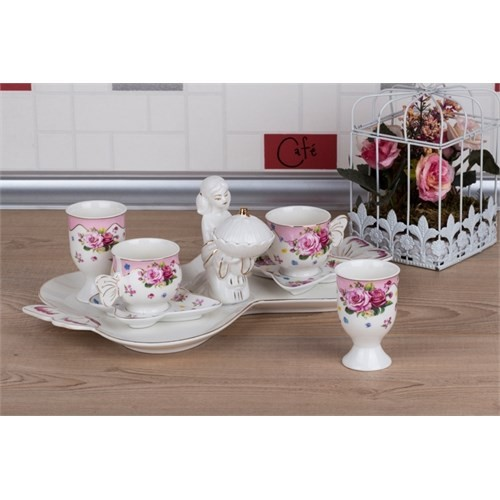 LoveQ Gül Serisi Lokumcu Kız Porselen Çift Kişilik Kahve Fincanı 147289G