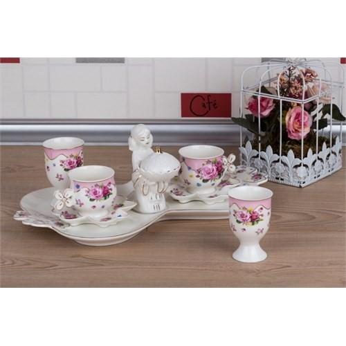 LoveQ Gül Serisi Lokumcu Kız Porselen Çift Kişilik Kahve Fincanı 147290G
