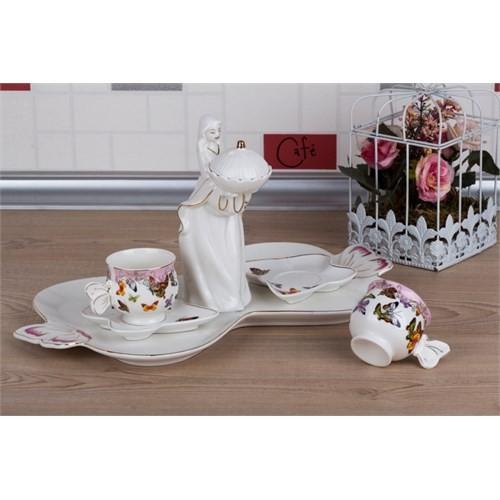 LoveQ Kelebek Serisi Lokumcu Kız Porselen Çift Kişilik Kahve Fincanı 147292B